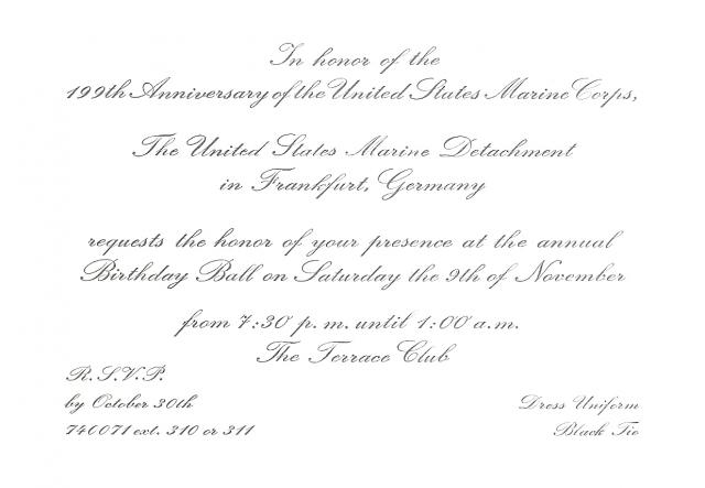 Marine Corps Ball Invitation Frankfurt Germany - Birthday invitation in germany