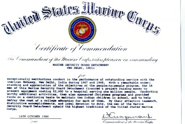 The history of cmc marine cmc marine autos post for Usmc certificate of commendation template